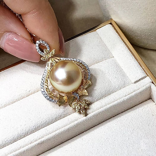 0.23ct Diamond AAAA 12-13 mm Golden South Sea Pearl Pendant 18k Gold