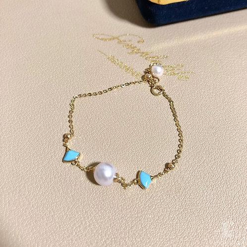AAA 4.5-7.5 mm Baby Akoya Pearl Bracelet 18k Gold w/ Turquoise