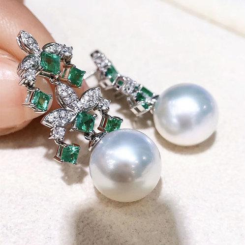 1.28ct Emerald AAAA 11-12 mm South Sea Pearl Royal Earrings 18k Gold w/ Diamond