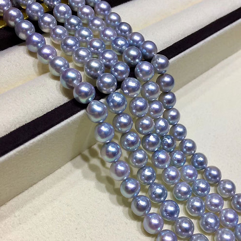 45cm, AAAA 7.5-8mm Akoya Pearl Classic Necklace w/ Silver Clasp, Japanese Certft