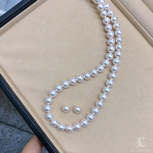 45cm, AAAA 8.5-9 mm Akoya Pearl Classic Necklace Earrings Set