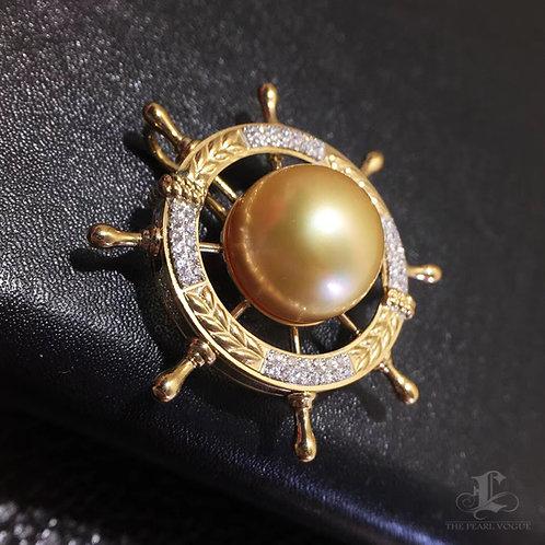 0.17ct Diamond AAAA 12-13mm South Sea Pearl Lucky Rudder Pendant, 18k Gold