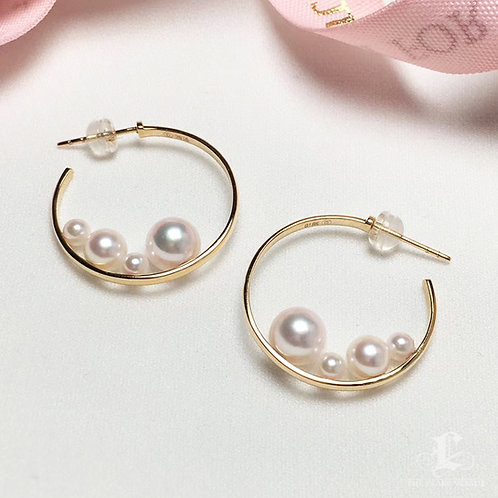 AAAA 3.5-7.5 mm Akoya Pearl Earrings, 18k Gold