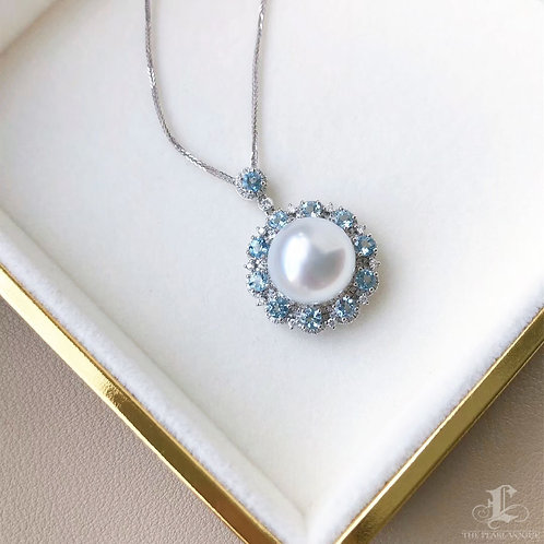 1.30ct Aquamarine, AAAA 12-13 mm South Sea Pearl Luxury Pendant 18k Gold Dmd