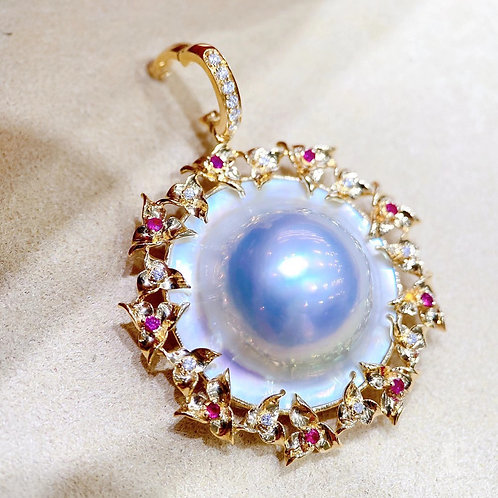 Aurora 16-17 mm  Original Mabe Pearl  Pendant 18k Gold w/ Diamond