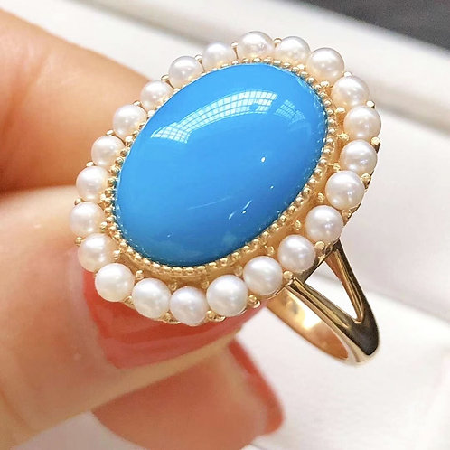 21 x 17 mm Natural Turquoise Royal Ring 18k Gold w/ Freshwater Pearls
