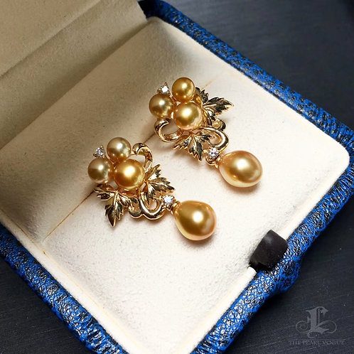 KESHI 4-6 mm Wild South Sea Pearl Earrings 18k Gold w/ Diamond