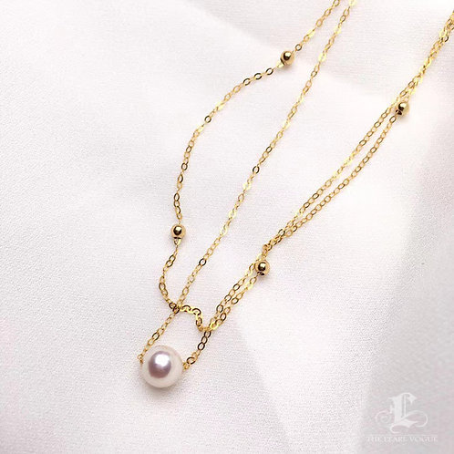AAA 6-7mm Akoya Pearl Layered Necklace 18k Gold