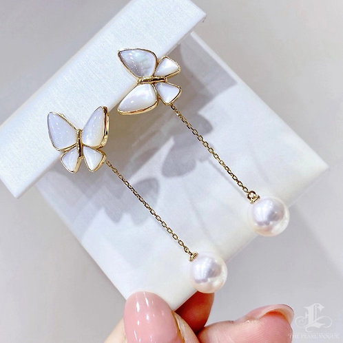 AAA 8.5-9 mm Akoya Pearl Bow Earrings 18k Gold w/ Pearl Mother