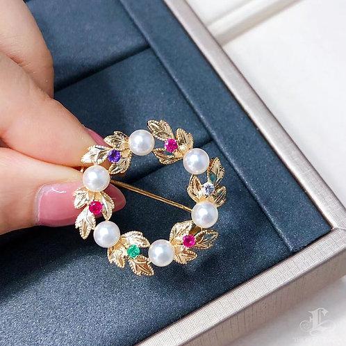 AAAA 5-6 mm Baby Akoya Pearl Pendant Brooch 18k Gold w/ Sapphire