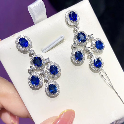 5.60 ct Natural Blue Sapphire Earrings 18k White Gold w/ Diamond