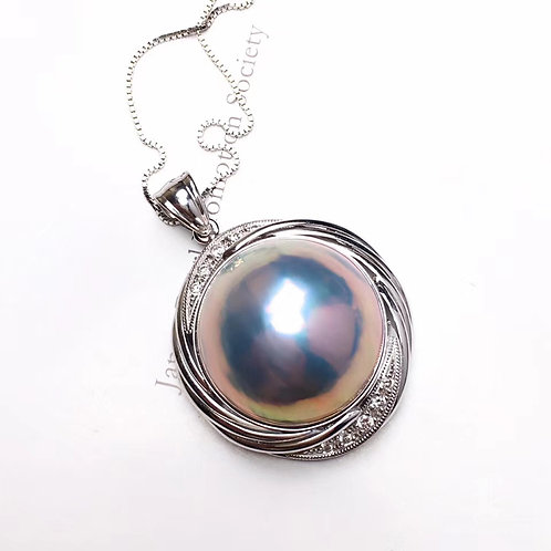 20mm Large Mabe Pearl Pendant 18k White Gold w/ Diamond - AAAA