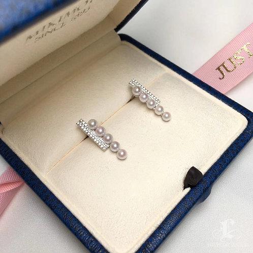 0.15ct Diamond, AAAA 3-3.5 mm Baby Akoya Pearl Earrings, 18k Gold