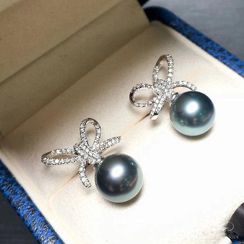 0.46ct Diamond AAAA 9-10mm Tahitian Pearl Earrings 18k Gold