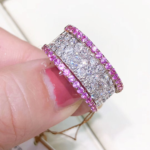1.48 ct FG/VS Micro-Pave Natural Diamond Wide Band Ring 18k Gold w/ Sapphire
