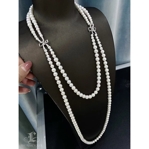 85 cm 0.78ct Diamond AAAA 3.5-7.5 mm Akoya Pearl Double Long Strand Necklace
