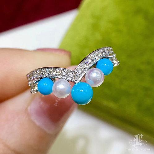 0.31ct Diamond, AAAA 3-4.5 mm Baby Akoya Pearl Ring, 18k Gold w/ Turquoise