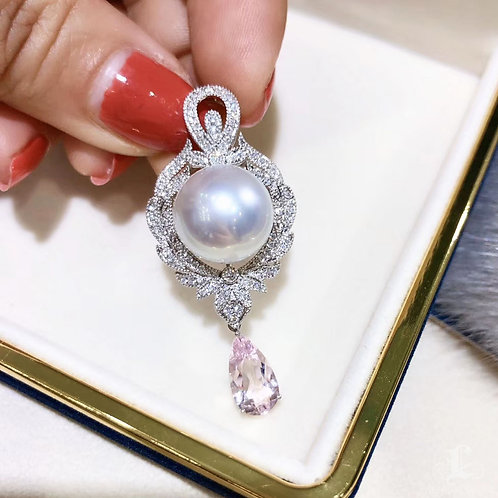 1.54ct Natural Beryl AAAA 13-14 mm South Sea Pearl Pendant 18k Gold Diamond