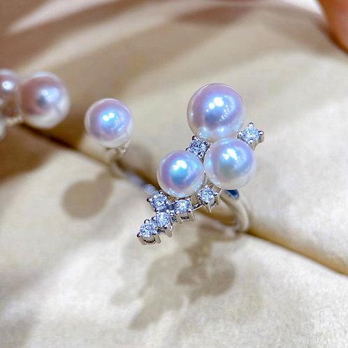 0.21 ct Diamond AAAA 3-7 mm Akoya Pearl Adjustable Ring 18k Gold