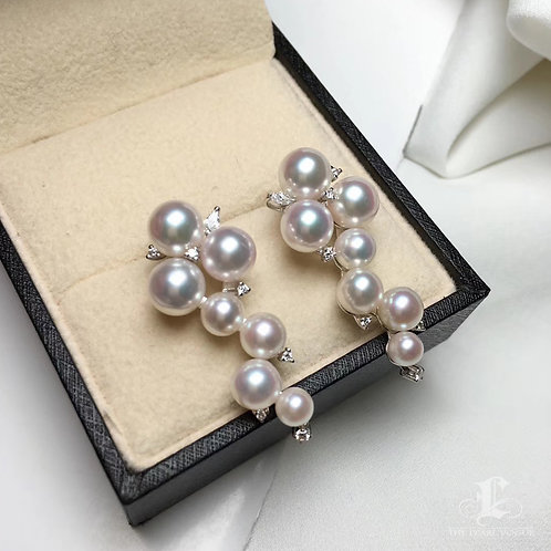 0.45ct Diamond, AAAA 4.5-7.5 mm Akoya Pearl Luxury  Earrings, 18k Gold