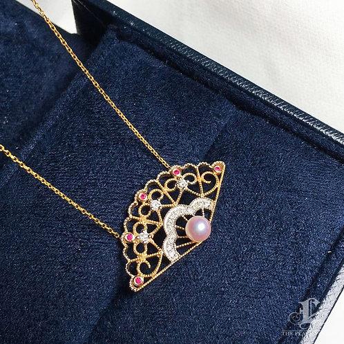 AAAA 4 mm Akoya Pearl Fashion Pendant, 18k Gold