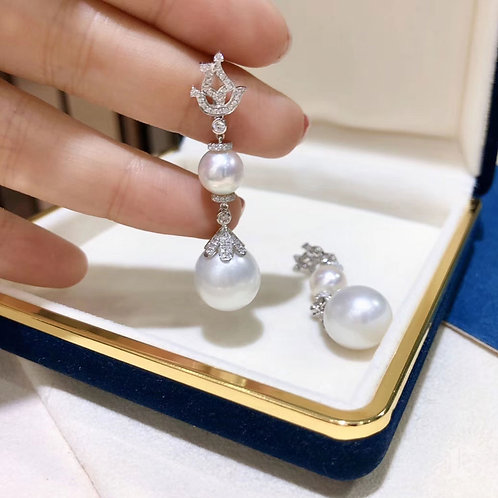 0.63 ct Diamond, AAA 13-14 mm South Sea Pearl Earrings 18k Gold