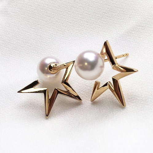 AAAA 7-7.5mm Akoya Pearl Star Earrings 18k Gold