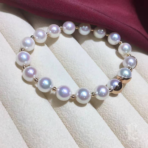18k Rose Gold, AAA 8-8.5mm Akoya Pearl Rubber Band Elasticity Bracelet