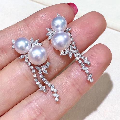 1.05ct Diamond, AAAA 7-8.5 mm Akoya Pearl Luxury Earrings, 18k Gold