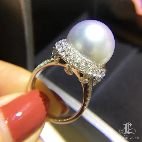 CUSTOMIZE | 2.60ct Diamond AAAA 14-15mm South Sea Pearl Luxury Ring, 18k Gold