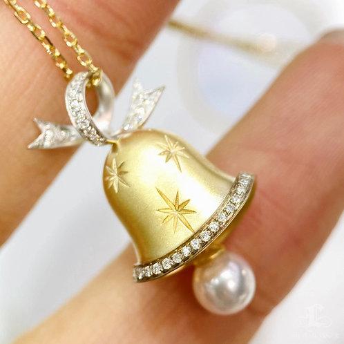 AAAA 5-6 mm Akoya Pearl Christmas bell Pendant, 18k Gold Diamond