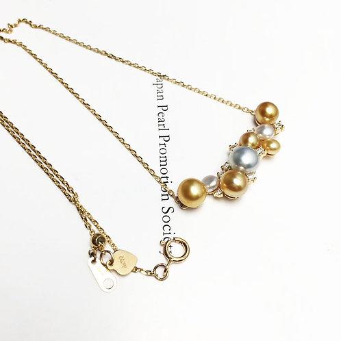 3-7 mm KESHI Wild South Sea Pearl Pendant, 18k Gold w/ Diamond - AAAA