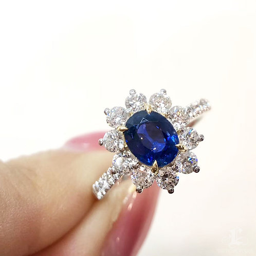 1.22 ct Natural Royal Blue Ring 18k Gold Diamond w/ Certificate