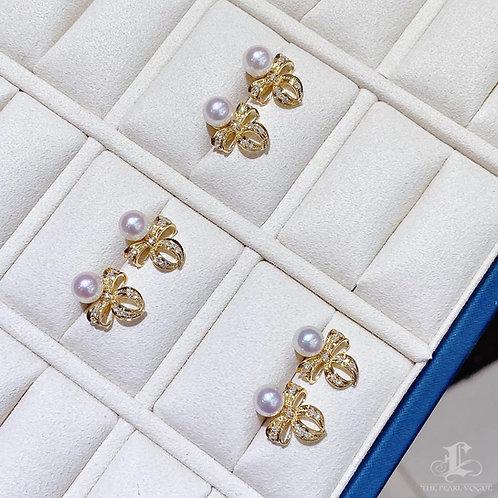 Aurora 6.5-7 mm Akoya Pearl Bow Earrings 18k Gold w/ Diamond