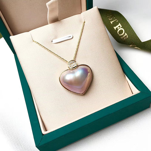 21mm Mabe Pearl Heart-Shape Pendant 18k Gold - AAA