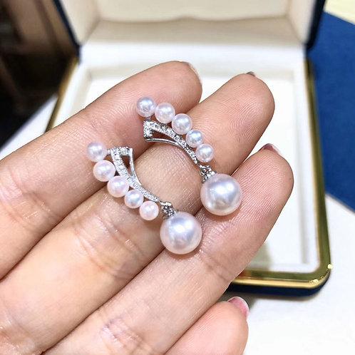 0.14 ct Diamond, AAAA 3-7.5 mm Akoya Pearl Earrings 18k Gold