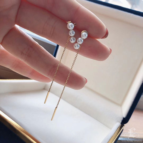 AAAA 4 mm Akoya Pearl Lady Earrings 18k Gold