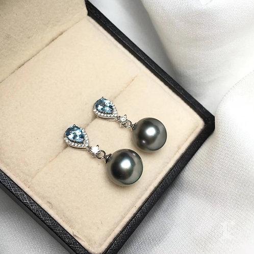 0.85ct Aquamarine 9-10mm Tahitian Pearl Earrings 18k Gold w/ Diamond