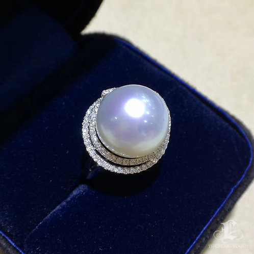 0.61ct Diamond AAAA 13-14mm White South Sea Pearl Ring Pendant 18k Gold