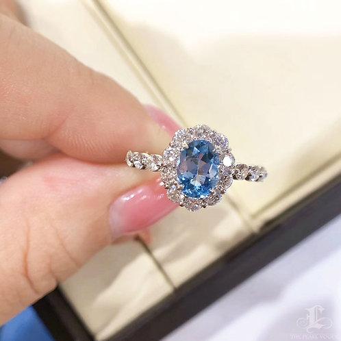 0.71 ct Blue Natural Aquamarine Ring PT Gold Diamond w/ Certificate