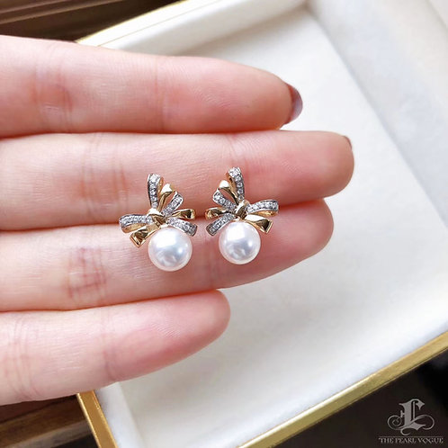 AAAA 7-7.5 mm Akoya Pearl Bow Earrings 18k Gold w/ Diamond