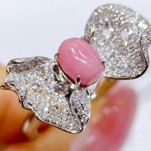 1.70 ct Conch Pearl Luxury Ring Pendant 18k Gold Diamond w/ Japan Certificate