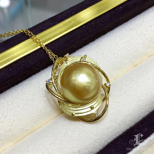 AAAA 14-15 mm Golden South Sea Pearl Pendant 18k Gold w/ Diamond