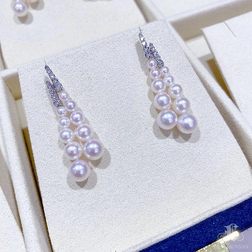 0.51 ct Diamond AAAA 3-6.5 mm Akoya Pearl Earrings 18k Gold