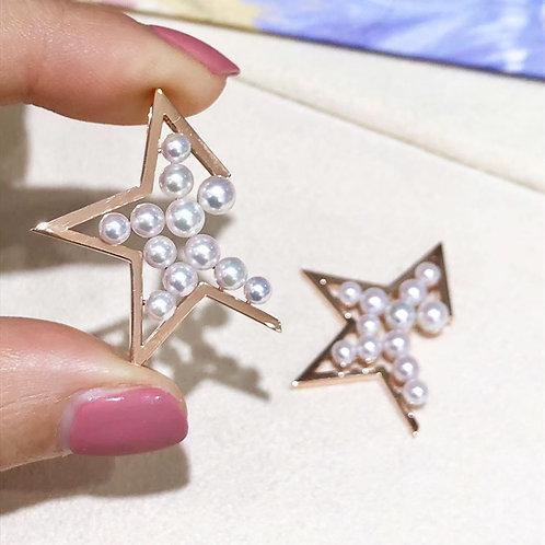 AAAA 3-4.5mm Baby Akoya Pearl Star Pendant 18k Rose Gold