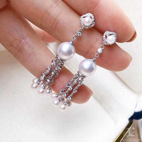 0.66 ct Diamond AAAA 3.5-8.5 mm Akoya Pearl Earrings 18k Gold