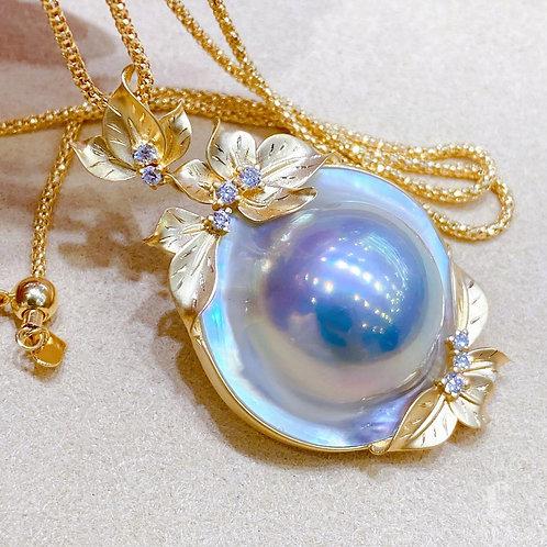 Aurora 16-17 mm  Original Mabe Pearl  Pendant 18k Gold w/ Diamond