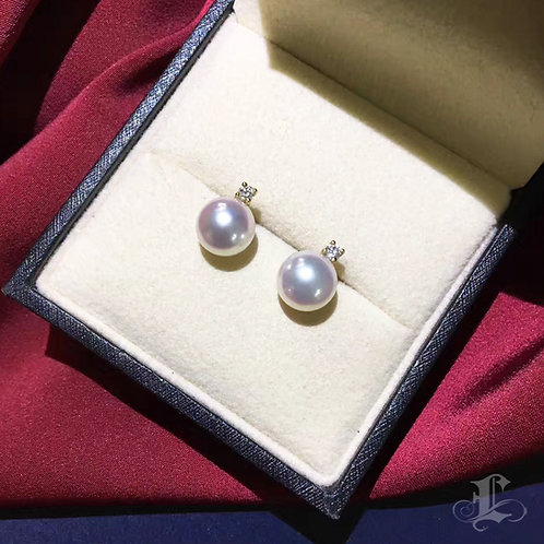 AAAA 8-8.5 mm/9-9.5 mm  Akoya Pearl Classic Stud Earrings, 18k Gold w/ Diamond