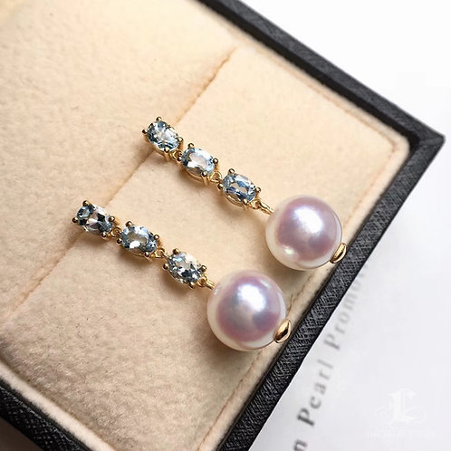 1.2ct Aquamarine, AAA 8-8.5mm Akoya Pearl Earrings, 18k Gold