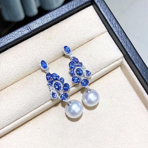 6.0ct Tanzanite, AAAA 11-12 mm South Sea Pearl Earrings 18k Gold w/ Diamond